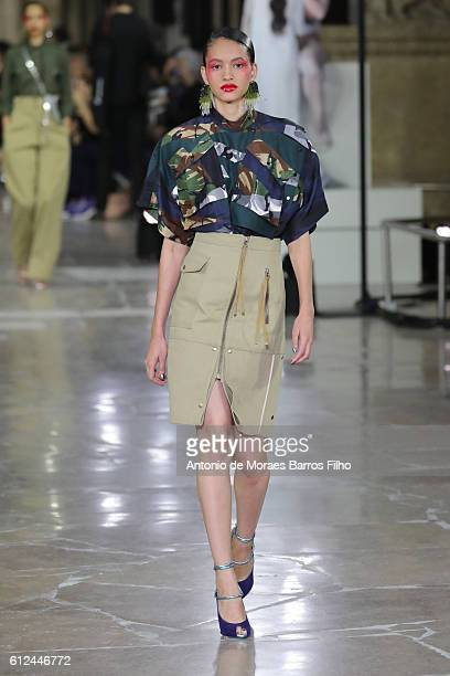 Model walks the runway during the Kenzo show as part of the Paris Fashion Week Womenswear Spring/Summer 2017 on October 4, 2016 in Paris, France.