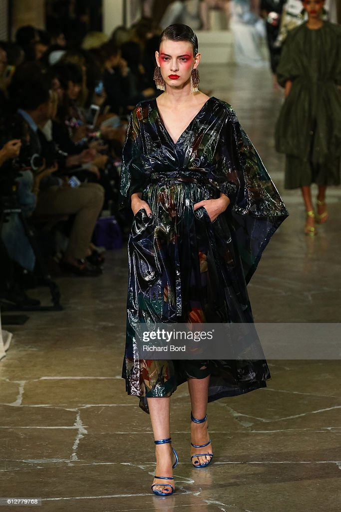 A model walks the runway during the Kenzo show as part of the Paris Fashion Week Womenswear Spring/Summer 2017 at 'Cite de l'Architecture et du Patrimoine' on October 4, 2016 in Paris, France.