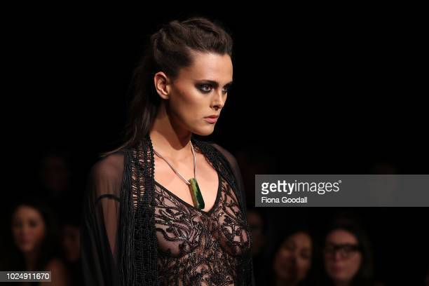 A model walks the runway during the Kiri Nathan show during New Zealand Fashion Week 2018 at Viaduct Events Centreâ on August 29 2018 in Auckland New...