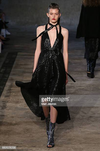 A model walks the runway during the Kitx show at MercedesBenz Fashion Week Resort 17 Collections at Paddington Reservoir on May 18 2016 in Sydney...