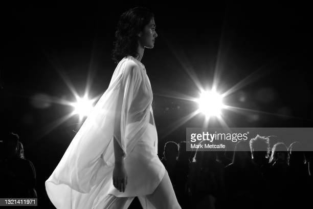 Model walks the runway during the KITX show during Afterpay Australian Fashion Week 2021 Resort '22 Collections at Carriageworks on June 02, 2021 in...