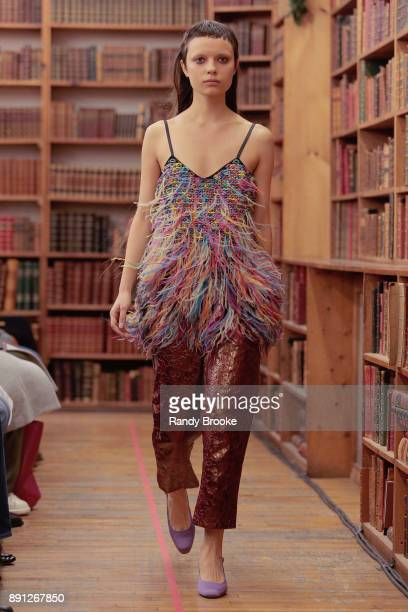 A model walks the runway during the Koche PreFall 2018 Runway Show at Strand Bookstore on December 12 2017 in New York City
