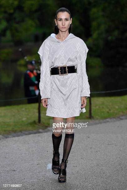 Model walks the runway during the Koche Ready to Wear Spring/Summer 2021 fashion show as part of Paris Fashion Week on September 29, 2020 in Paris,...