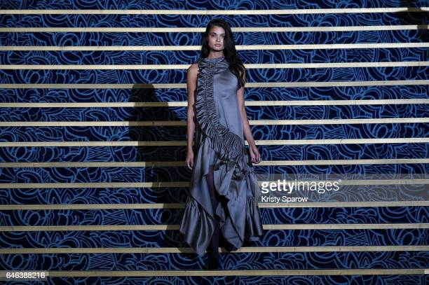 Model walks the runway during the Koche show as part of Paris Fashion Week Womenswear Fall/Winter 2017/2018 on February 28, 2017 in Paris, France.