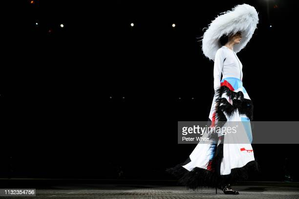 Model walks the runway during the Koche show as part of the Paris Fashion Week Womenswear Fall/Winter 2019/2020 on February 26, 2019 in Paris, France.