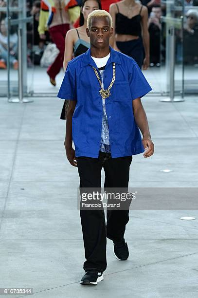 A model walks the runway during the Koche show as part of the Paris Fashion Week Womenswear Spring/Summer 2017 on September 27 2016 in Paris France