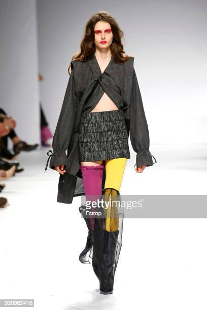 A model walks the runway during the Kolovrat show as part of the Lisboa Fashion Week 'Moda Lisboa' 2018 on March 11 2018 in Lisbon Portugal