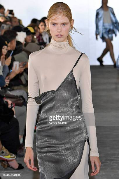 A model walks the runway during the Kristina Fidelskaya Ready to Wear fashion show as part of the Paris Fashion Week Womenswear Spring/Summer 2019 on...
