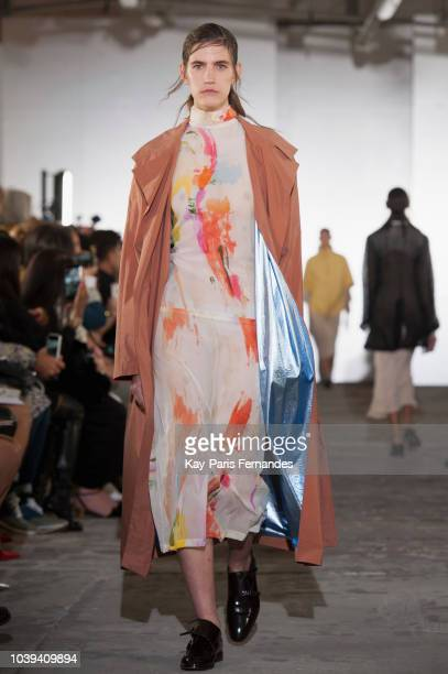 A model walks the runway during the Kristina Fidelskaya show as part of the Paris Fashion Week Womenswear Spring/Summer 2019 on September 24 2018 in...