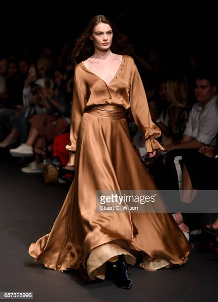 A model walks the runway during the Kristina Fidelskaya show at Fashion Forward March 2017 held at the Dubai Design District on March 24 2017 in...