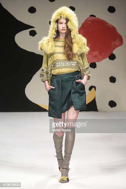 A model walks the runway during the Kristina Ti show as a part of Milan Fashion Week Womenswear Autumn/Winter 2014 on February 20 2014 in Milan Italy