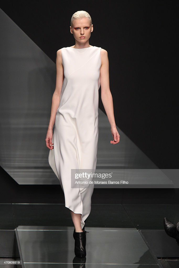 A model walks the runway during the Krizia show as a part of Milan Fashion Week Womenswear Autumn/Winter 2014 on February 20, 2014 in Milan, Italy.
