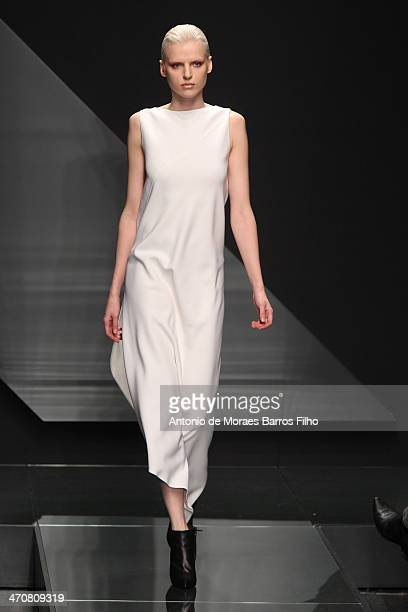 Model walks the runway during the Krizia show as a part of Milan Fashion Week Womenswear Autumn/Winter 2014 on February 20, 2014 in Milan, Italy.