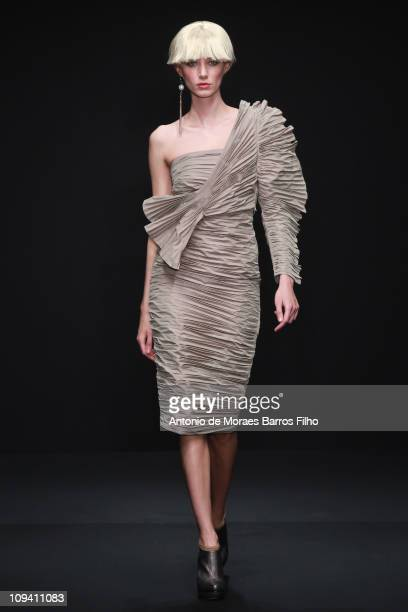 Model walks the runway during the Krizia show as part of Milan Fashion Week Womenswear Autumn/Winter 2011 on February 24, 2011 in Milan, Italy.