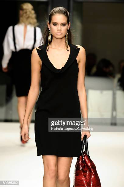 A model walks the runway during the Krizia Spring/Summer 2008/2009 collection of the Milan Fashion Week on September 23 2008 in Milan Italy