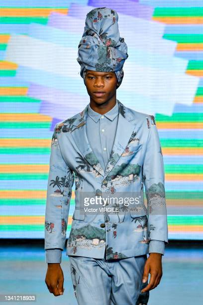 Model walks the runway during the Labrum London Ready to Wear Spring/Summer 2022 fashion show as part of the London Fashion Weekon September 18, 2021...