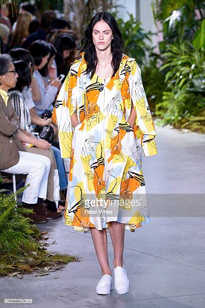 Model walks the runway during the Lacoste fashion show during New York Fashion Week September 2016 at Spring Studios on September 10, 2016 in New...