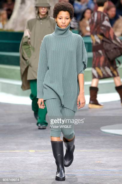 A model walks the runway during the Lacoste Ready to Wear Fall/Winter 20182019 fashion show as part of the Paris Fashion Week Womenswear Fall/Winter...