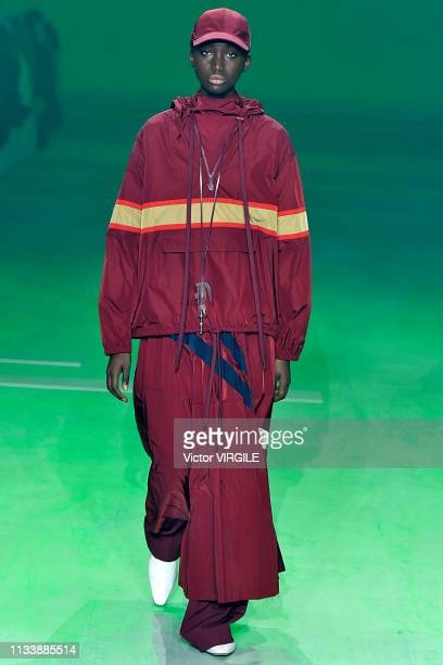Model walks the runway during the Lacoste Ready to Wear fashion show as part of the Paris Fashion Week Womenswear Fall/Winter 2019/2020 on March 05,...