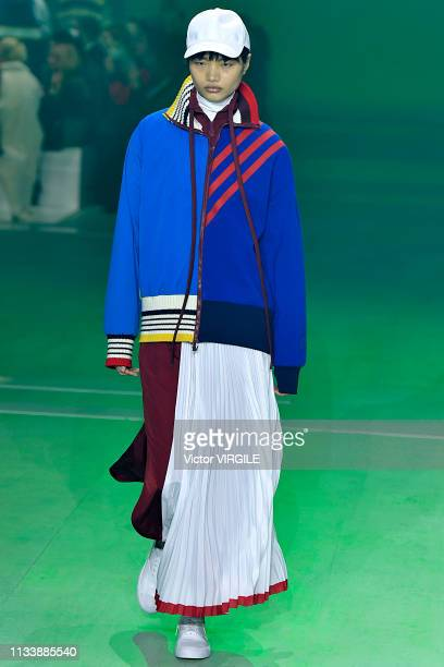 A model walks the runway during the Lacoste Ready to Wear fashion show as part of the Paris Fashion Week Womenswear Fall/Winter 2019/2020 on March 05...