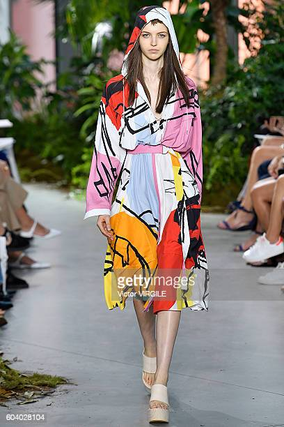 A model walks the runway during the Lacoste Ready to Wear Spring Summer 2017 fashion show during New York Fashion Week September 2016 on September 10...