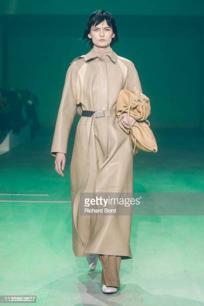 A model walks the runway during the Lacoste show as part of the Paris Fashion Week Womenswear Fall/Winter 2019/2020 at Tennis Club de Paris on March...