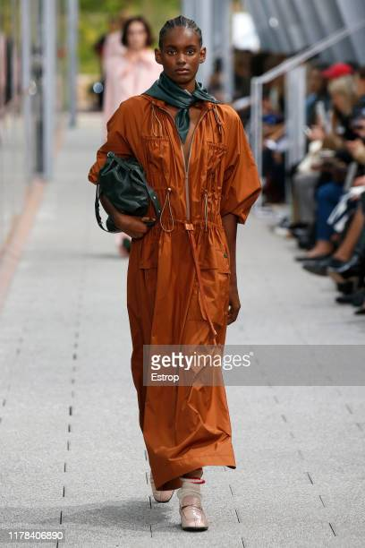 A model walks the runway during the Lacoste Womenswear Spring/Summer 2020 show as part of Paris Fashion Week on October 1 2019 in Paris France