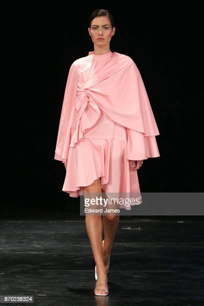 A model walks the runway during the Lado Bokuchava fashion show at MercedesBenz Fashion Week Tbilisi on November 4 2017 in Tbilisi Georgia