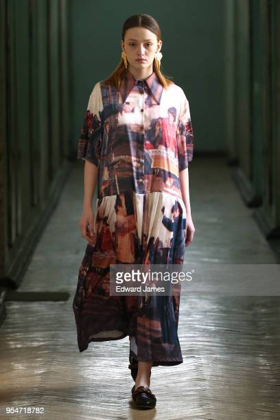 A model walks the runway during the Lako Bukia Fall/Winter 2018/2019 Collection fashion show at MercedesBenz Fashion Week Tbilisi on May 4 2018 in...