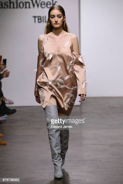 A model walks the runway during the Lalo Fall/Winter 2017/2018 collection fashion show during MercedesBenz Fashion Week Tbilisi on May 6 2017 in...