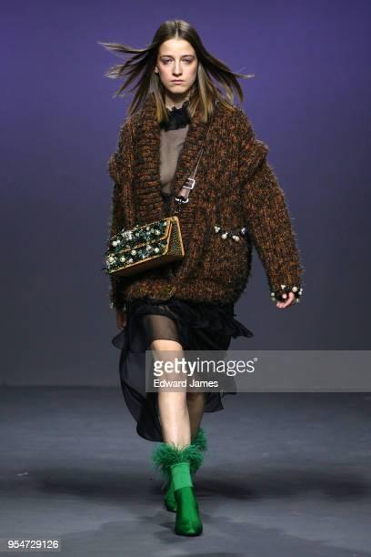 A model walks the runway during the Lalo Fall/Winter 2018/2019 Collection fashion show at MercedesBenz Fashion Week Tbilisi on May 4 2018 in Tbilisi...