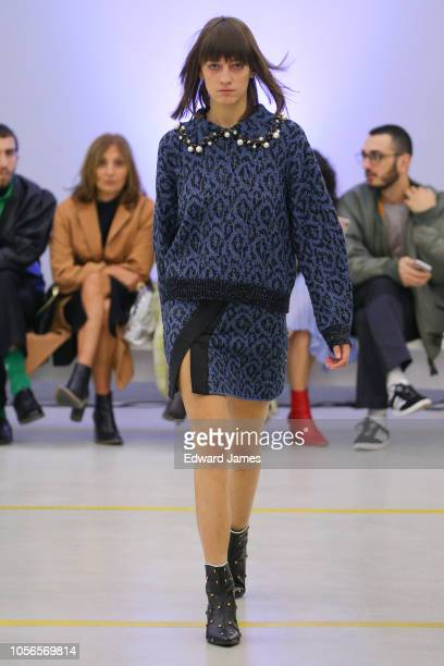 A model walks the runway during the Lalo Spring/Summer 2019 Collection fashion show at MercedesBenz Fashion Week Tbilisi on November 2 2018 in...
