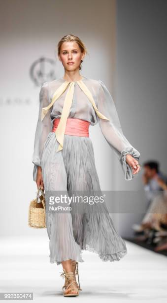 A model walks the runway during the Lana Mueller Spring/Summer 2019 collection show during the third day of MBFW Berlin Fashion Weak in the ewerk...