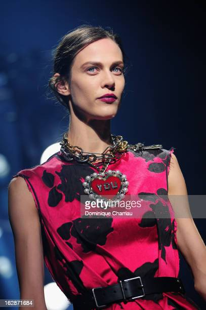Model walks the runway during the Lanvin Fall/Winter 2013 Ready-to-Wear show as part of Paris Fashion Week on February 28, 2013 in Paris, France.