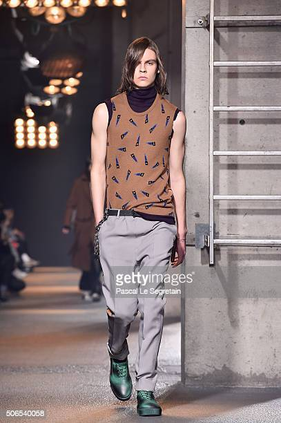 A model walks the runway during the Lanvin Menswear Fall/Winter 20162017 show as part of Paris Fashion Week on January 24 2016 in Paris France