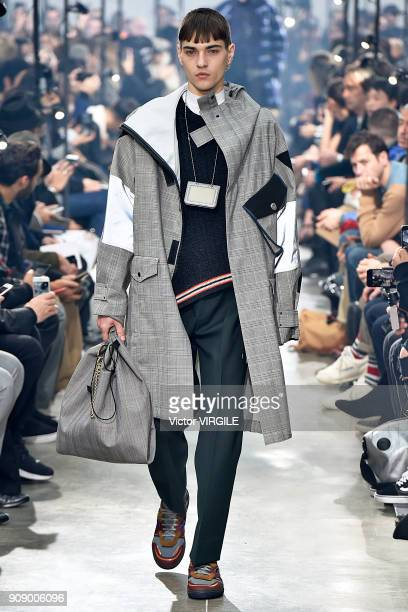 Model walks the runway during the Lanvin Menswear Fall/Winter 2018-2019 show as part of Paris Fashion Week on January 21, 2018 in Paris, France.