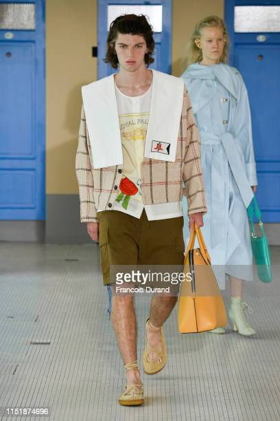 Model walks the runway during the Lanvin Menswear Spring Summer 2020 show as part of Paris Fashion Week on June 23, 2019 in Paris, France.
