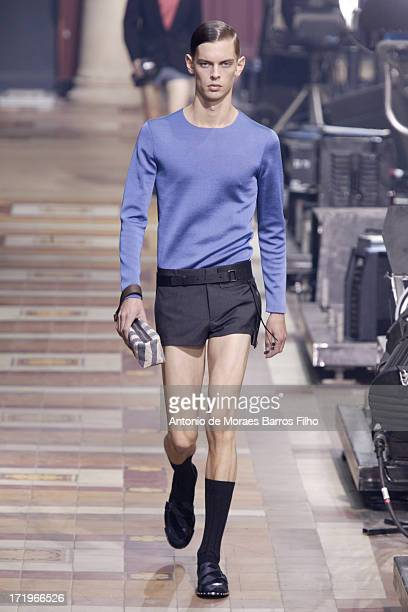 A model walks the runway during the Lanvin Menswear Spring/Summer 2014 Show As Part Of The Paris Fashion Week on June 30 2013 in Paris France
