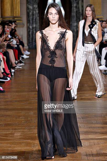 A model walks the runway during the Lanvin Ready to Wear fashion show as part of the Paris Fashion Week Womenswear Spring/Summer 2017 on September 28...