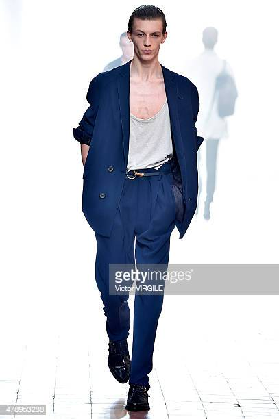 A model walks the runway during the Lanvin Ready to Wear Menswear Spring/Summer 2016 show as part of Paris Fashion Week on June 28 2015 in Paris...