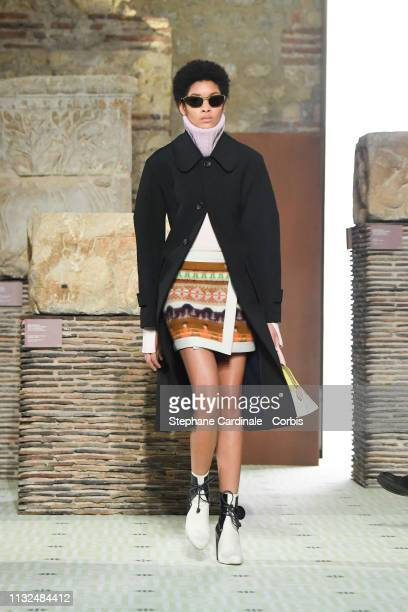 A model walks the runway during the Lanvin show as part of the Paris Fashion Week Womenswear Fall/Winter 2019/2020 on February 27 2019 in Paris France