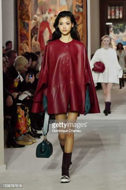 Model walks the runway during the Lanvin show as part of the Paris Fashion Week Womenswear Fall/Winter 2020/2021 on February 26, 2020 in Paris,...