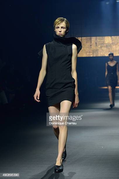 A model walks the runway during the Lanvin show as part of the Paris Fashion Week Womenswear Spring/Summer 2016 on October 1 2015 in Paris France