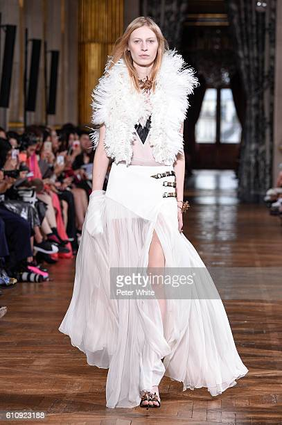 A model walks the runway during the Lanvin show as part of the Paris Fashion Week Womenswear Spring/Summer 2017 on September 28 2016 in Paris France