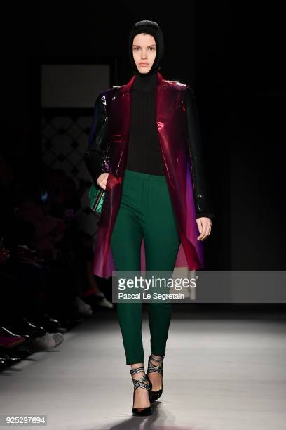 A model walks the runway during the Lanvin show as part of the Paris Fashion Week Womenswear Fall/Winter 2018/2019 on February 28 2018 in Paris France
