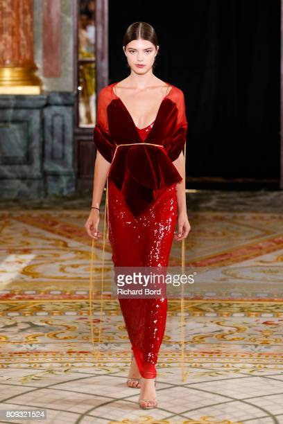 A model walks the runway during the Lanyu Haute Couture Fall/Winter 20172018 show at Hotel Intercontinental as part of Haute Couture Paris Fashion...