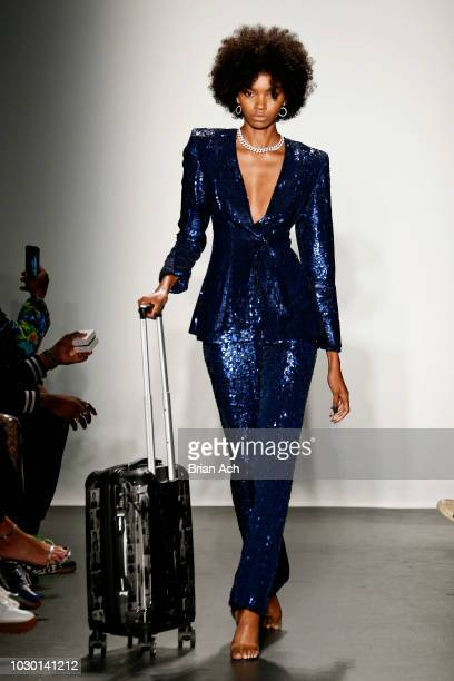 A model walks the runway during the Laquan Smith Fashion Show during New York Fashion Week The Shows at Pier 59 on September 9 2018 in New York City