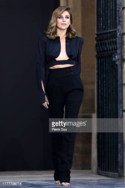 """Model walks the runway during the """"Le Defile L'Oreal Paris"""" Show as part of Paris Fashion Week on September 28, 2019 in Paris, France."""