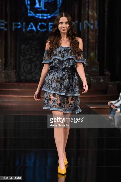 A model walks the runway during the LE PIACENTINI show at New York Fashion Week Powered By Art Hearts Fashion at The Angel Orensanz Foundation on...