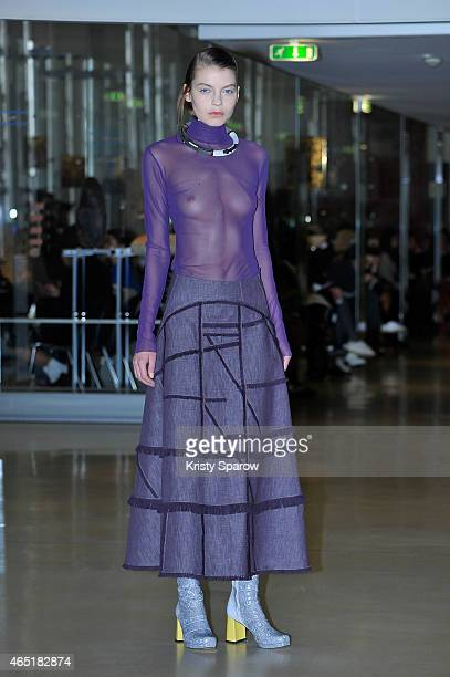 A model walks the runway during the Lea Peckre show as part of the Paris Fashion Week Womenswear Fall/Winter 2015/2016 at Institute du Monde Arabe on...